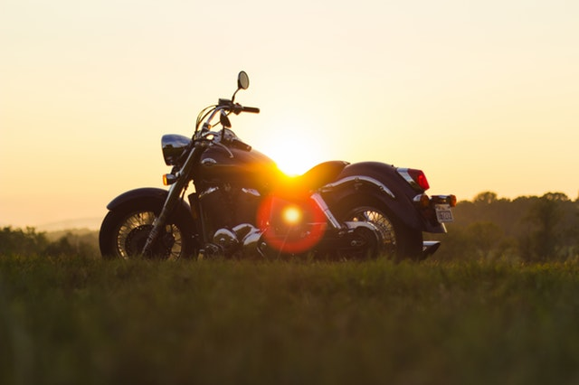 Motorcycle silhouette in the sunset.