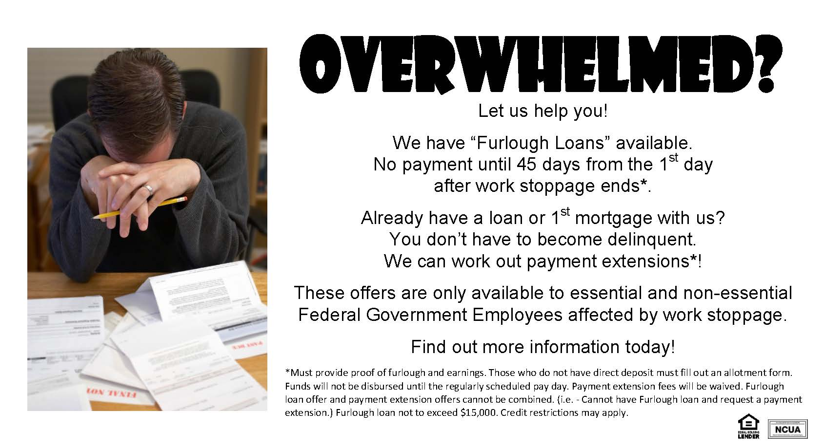 Promotional ad for furlough loans for the government shutdown. Contact the credit union for details.