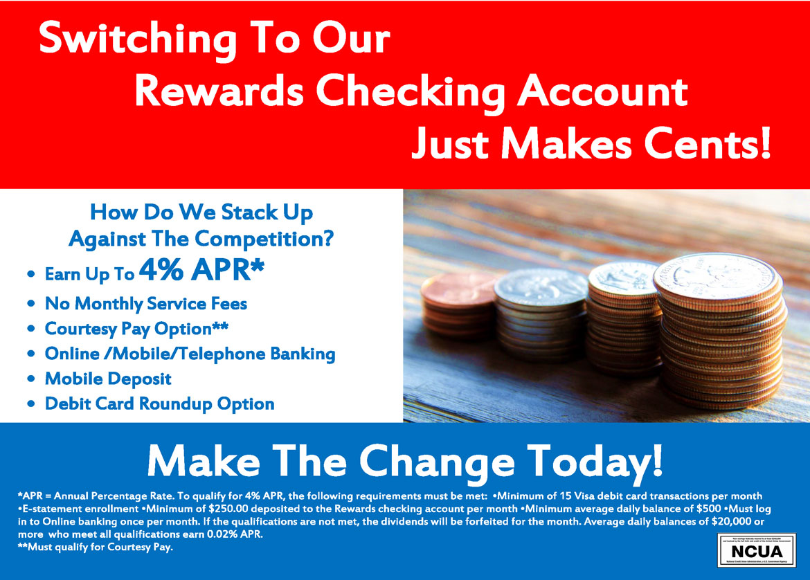 Join our rewards checking program today by calling!